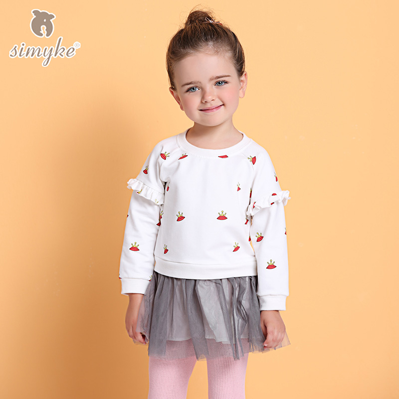 Simyke Girls Autumn Long Sleeve Tutu Dresses 2017 New Children&39;s Pattern Dress Toddler Girls Clothing Kids Brand Clothes D8256
