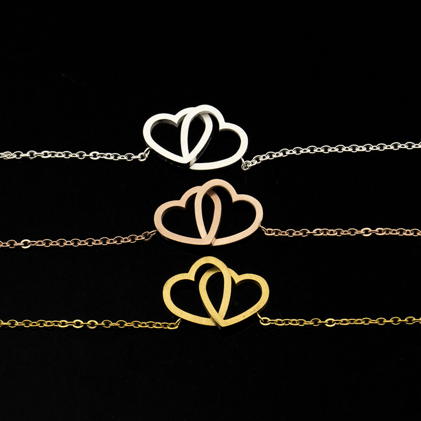 Wholesale 10pcs Charm Double Heart Bracelet Women Wedding Jewelry Rose Gold Color Stainless Steel Adjustable Couples Bracelet