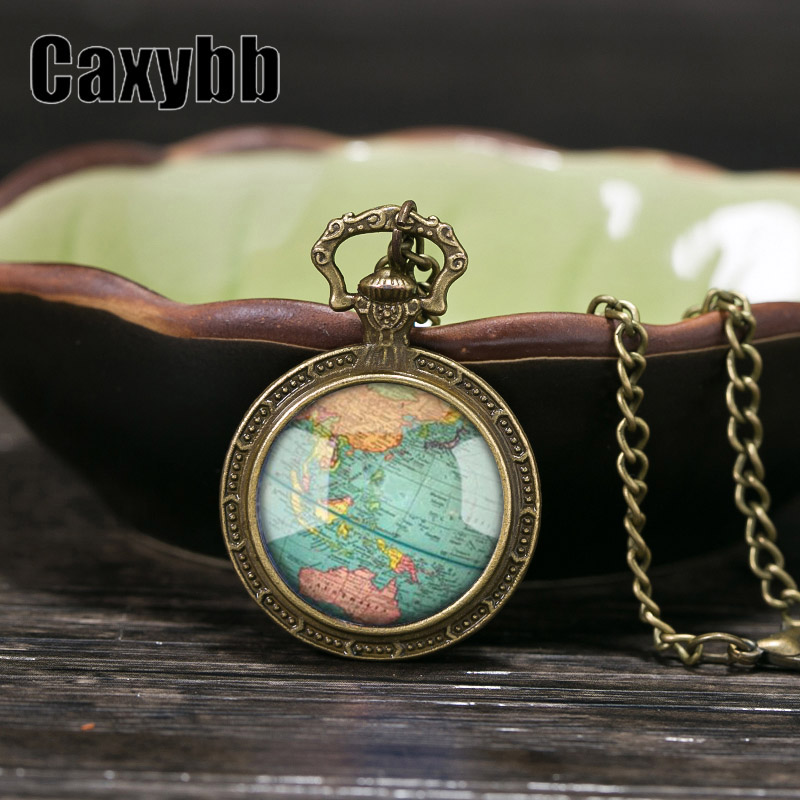 Gaxybb Hot sell glass dome jewelry necklace Vintage World Map planet Earth globe necklace art glass dome pendant necklace