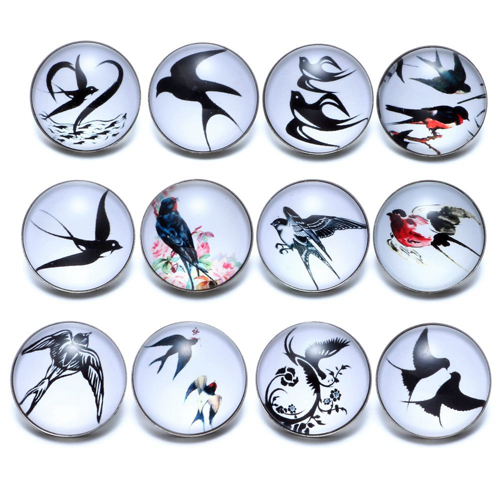 12pcs/lot Swallows Theme Glass Button 18mm Snap Button Charms For 18mm Snaps Bracelet Snap Jewelry KZ0663