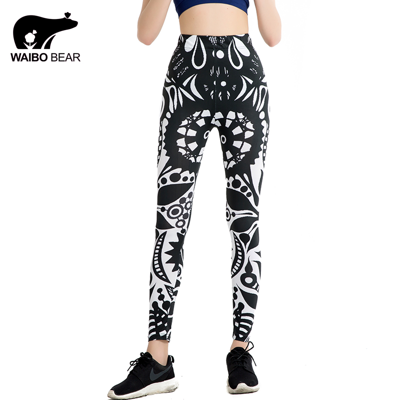 Bohemian Style Women Brand Leggins Geometric Print White And Black Fitness Elastic Pants Ankle-Length Slim leggings WAIBO BEAR