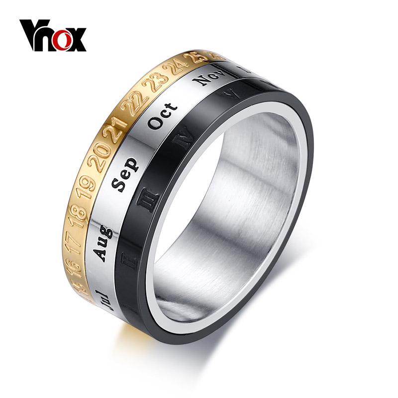 Vnox Mens Ring with Month Day Date Unique Spinner Stainless Steel Rings for Men Male Party Daily Jewelry
